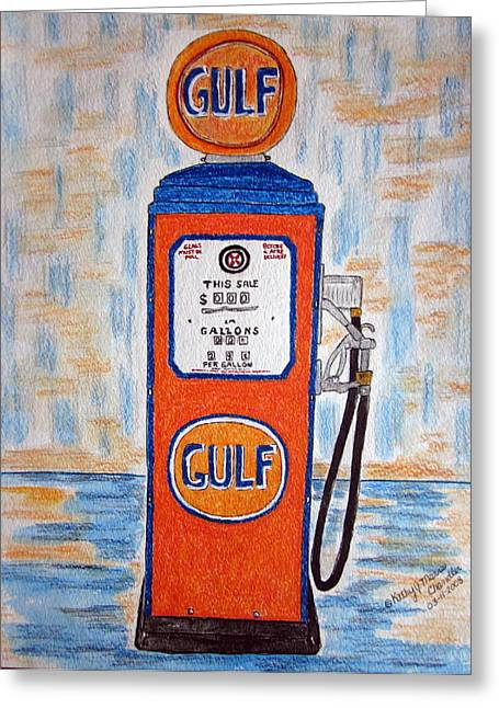 Greeting Card featuring the painting Gulf Gas Pump by Kathy Marrs Chandler