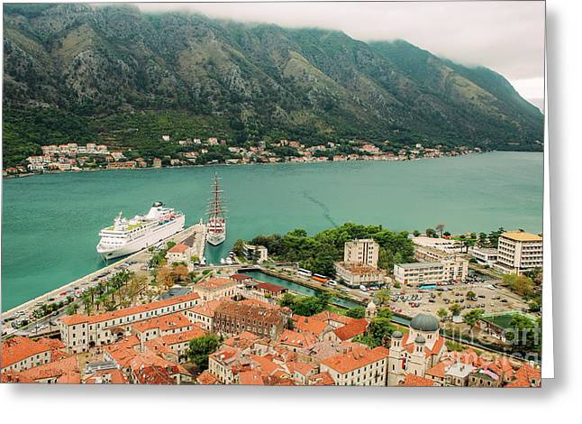 Gulf Of Kotor With Cruise Liner Greeting Card