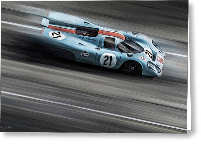 Gulf Porsche 21 Greeting Card by Peter Chilelli