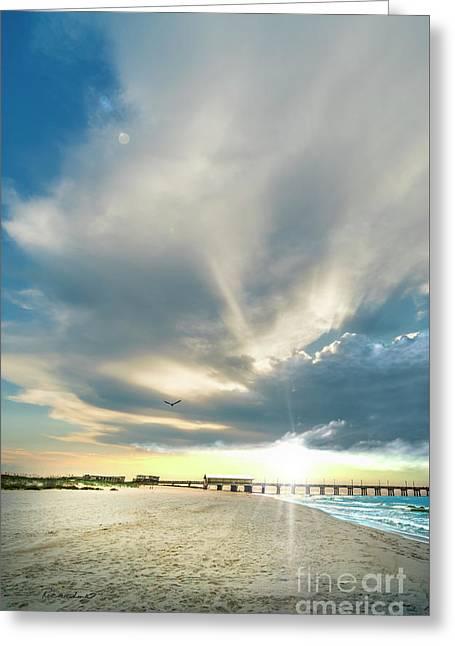 Gulf Shores Al Pier Seascape Sunrise 152a Greeting Card