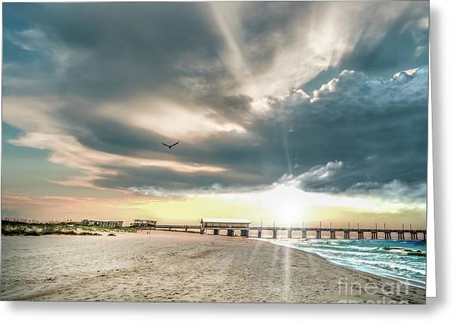 Gulf Shores Al Pier Seascape Sunrise 152c Greeting Card