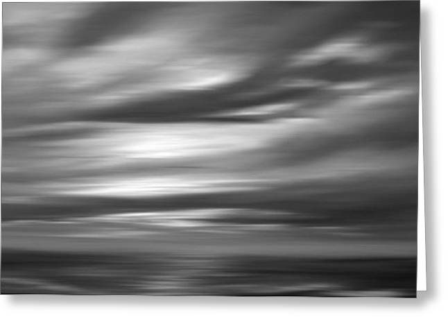 Gulf Sunset In Black And White Greeting Card by Leonard Frederick