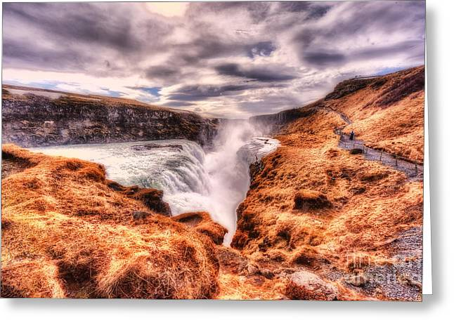 Gulfoss Waterfall Iceland 2nd Tier Greeting Card