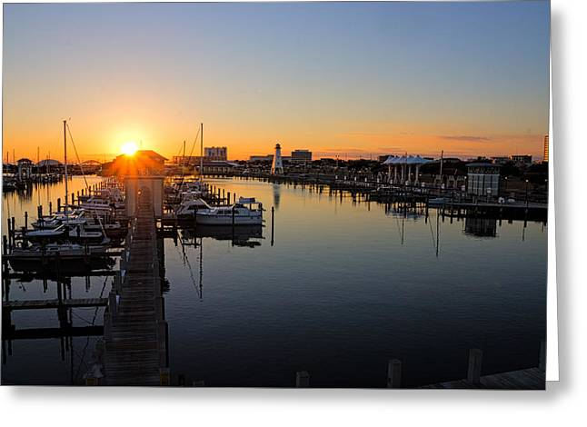 Gulfport Harbor Sunset Greeting Card