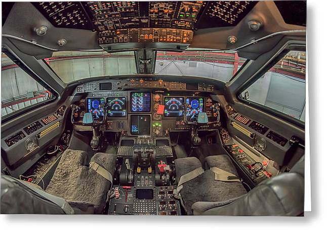 Gulfstream Cockpit Greeting Card by Guy Whiteley