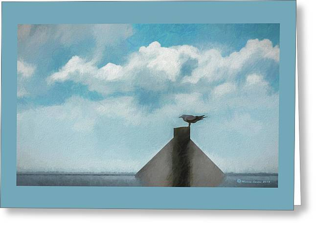 Gull And Sky Greeting Card by Marvin Spates