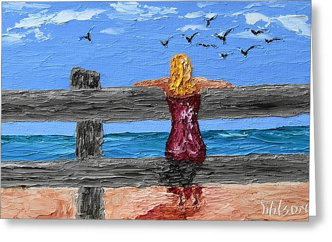 Watching The Gulls Greeting Card