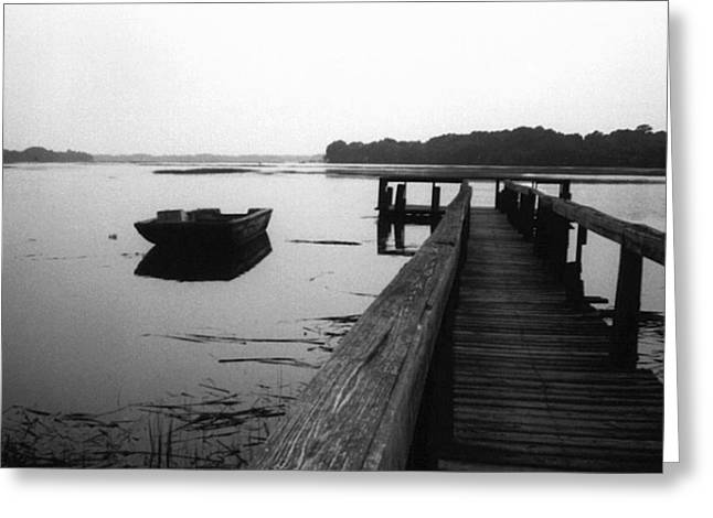 Gullah Coast Bateau Bw Greeting Card
