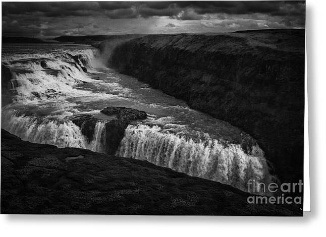 Gullfoss Waterfall Greeting Card by Nancy Dempsey