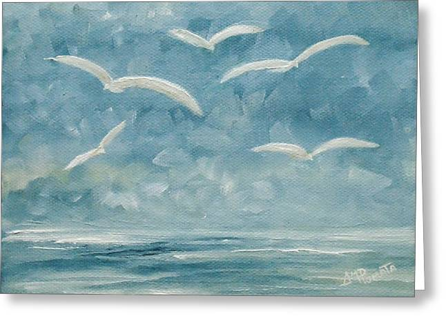 Gulls In The Storm Greeting Card
