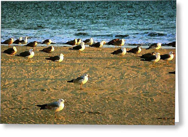 Greeting Card featuring the digital art Gulls by Timothy Bulone