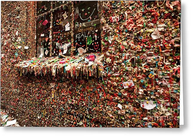 Gum Wall Pike Place Market Gum Wall Greeting Card by Jim Corwin