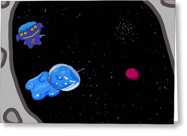 Gummy Bear In Space With Alien Greeting Card by Jera Sky