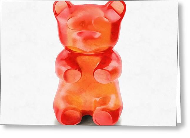 Greeting Card featuring the digital art Gummy Bear Red Orange by Edward Fielding