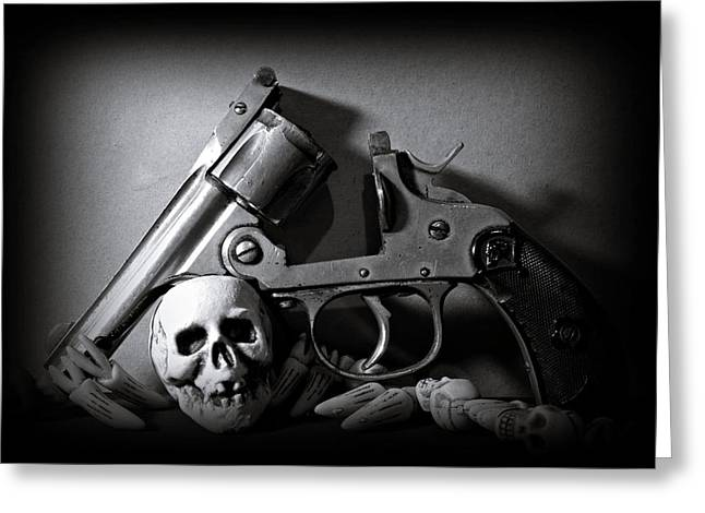 Skullcap Greeting Cards - Gun and Skull Greeting Card by Scott  Wyatt