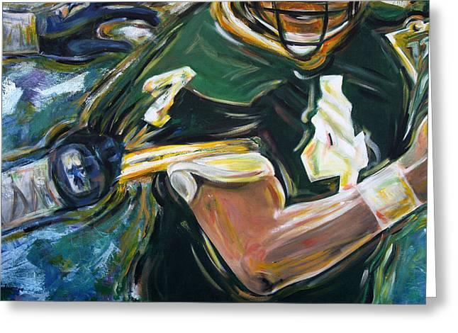 Packer Quarterback Greeting Cards - Gun on the Run Greeting Card by Redlime Art