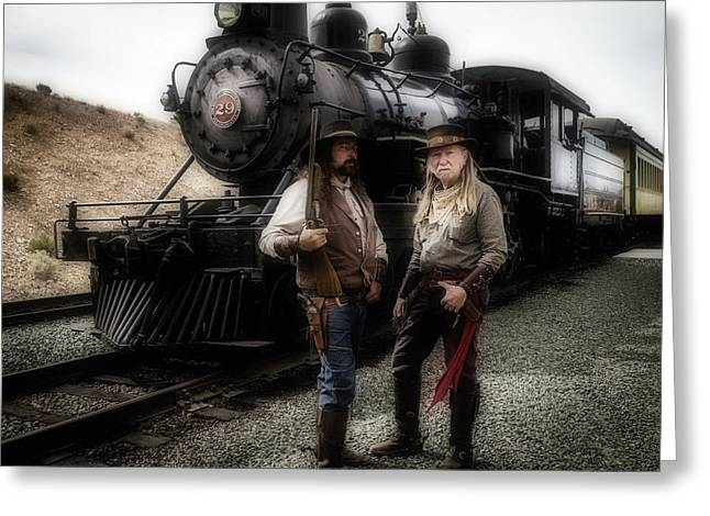 Gunfighters In Front Of Old Train Greeting Card
