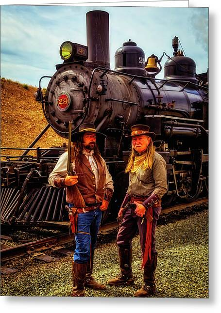 Gunfighters With Old Train Greeting Card by Garry Gay