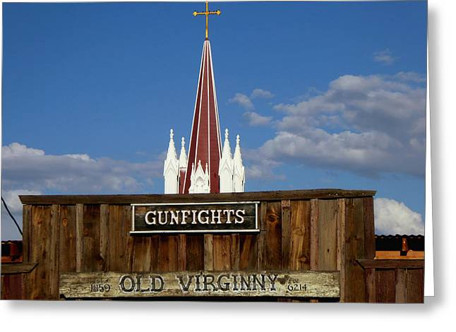 Old Virginia City Gunfights - Western Art Greeting Card by Art America Gallery Peter Potter