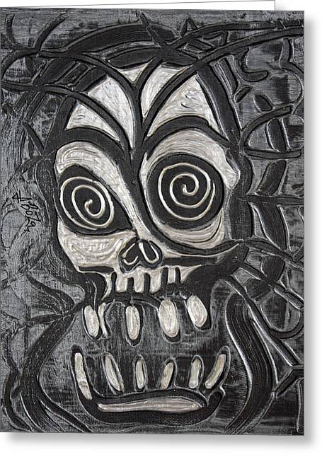 Gunmetal Skull Greeting Card by Laura Barbosa