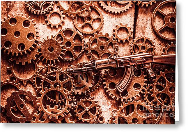 Guns Of Machine Mechanics Greeting Card by Jorgo Photography - Wall Art Gallery