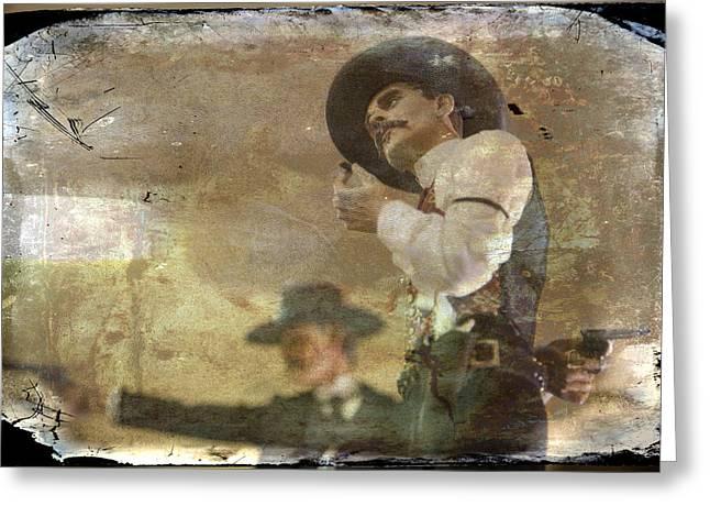 Gunslingers Greeting Cards - Gunslinger II Doc Holliday Greeting Card by Toni Hopper