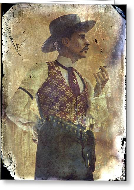 Conversations Photographs Greeting Cards - Gunslinger III Doc Holliday in fine attire Greeting Card by Toni Hopper