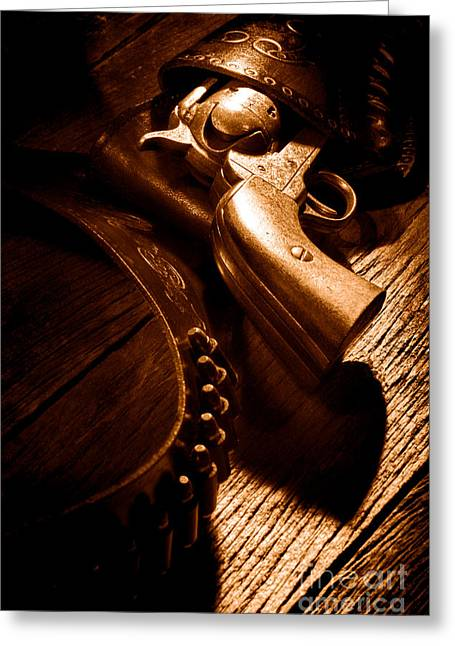 Gunslinger Tool - Sepia Greeting Card by Olivier Le Queinec