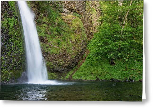 Greeting Card featuring the photograph Gushing Horsetail Falls by Greg Nyquist