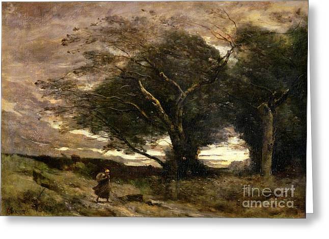 Rough Paintings Greeting Cards - Gust of Wind Greeting Card by Jean Baptiste Camille Corot