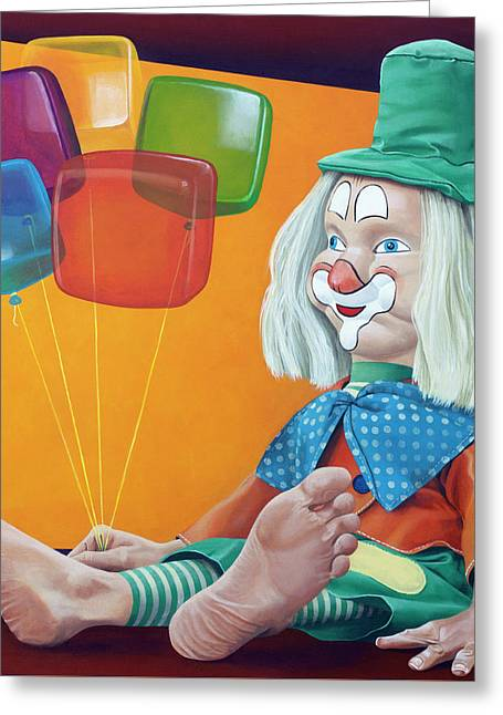 Gustav With Balloons Greeting Card by Kelly Jade King