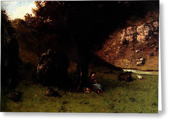 Gustave Courbet La Petite Bergere   The Young Shepherdess Greeting Card by Gustave Courbet