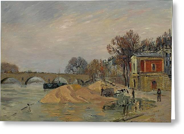 Gustave Loiseau 1865 - 1935 Marie Bridge In Paris Greeting Card
