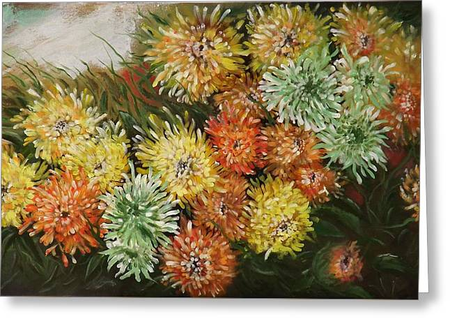 Gusty Chrysanthemums Greeting Card