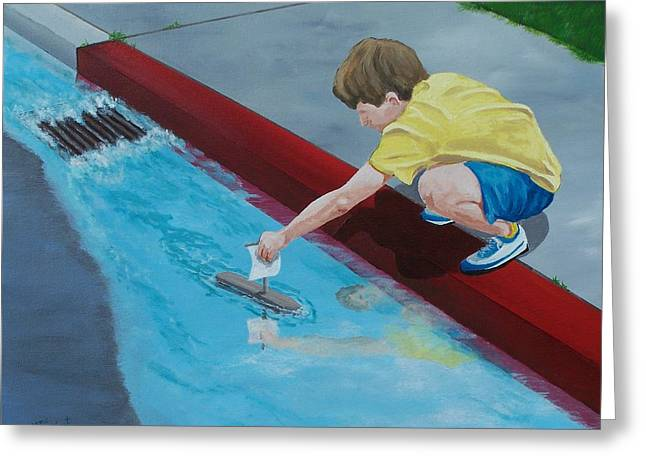 Drain Paintings Greeting Cards - Gutter Boat Greeting Card by Gene Ritchhart