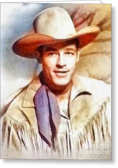 Guy Madison, Vintage Hollywood Actor Greeting Card by Frank Falcon