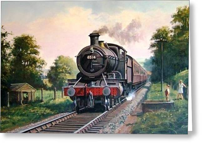 Gwr 2-6-0 On A Local Passenger Train. Greeting Card