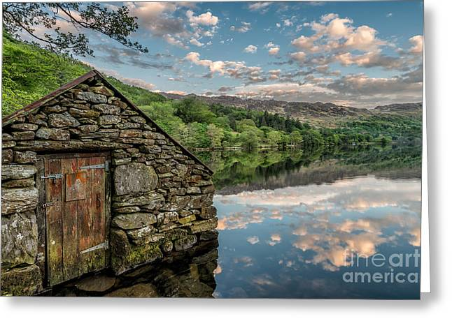 Gwynant Lake Sunset Greeting Card by Adrian Evans