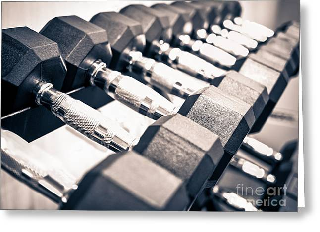Gym Dumbbell Free Weights Rack Greeting Card by Paul Velgos