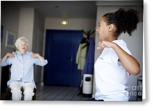 Gym Instructor With Elderly Person Greeting Card
