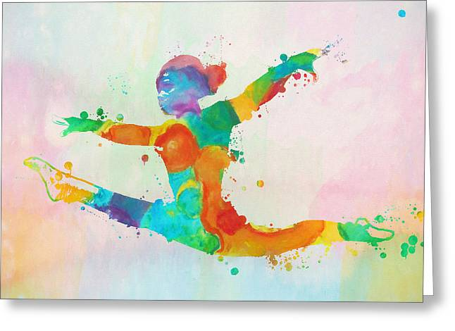 Gymnast Leap Paint Splatter Greeting Card