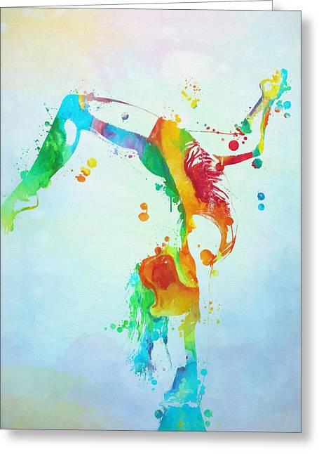 Gymnast Watercolor Paint Splatter Greeting Card by Dan Sproul