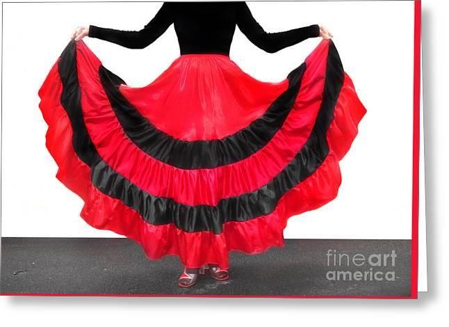 Gypsy Dance Skirt, Red-black. Ameynra Design Greeting Card by Sofia Metal Queen