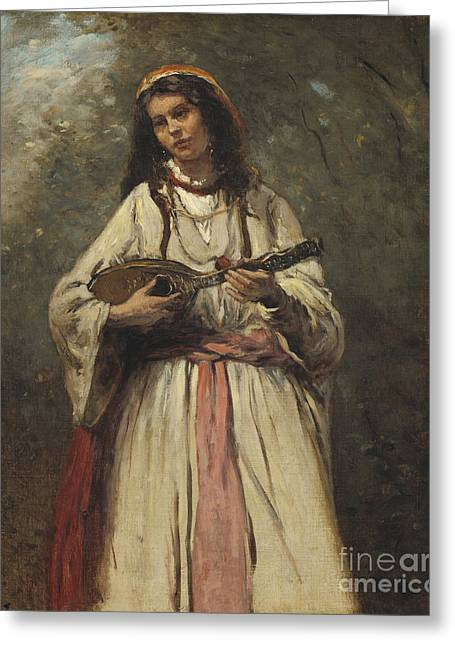 Gypsy Girl With Mandolin Greeting Card by MotionAge Designs