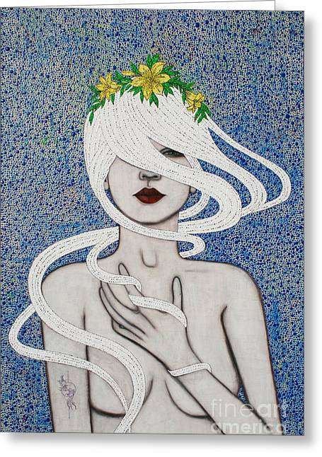 Greeting Card featuring the mixed media Gypsy Soul by Natalie Briney