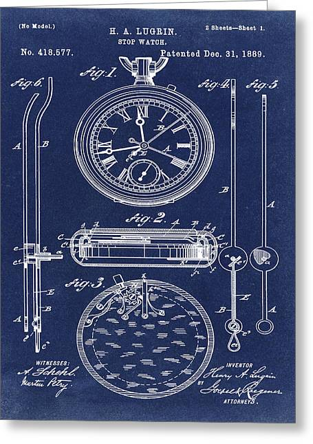 H A Lugrin Stop Watch Patent 1889 In Blue  Greeting Card by Bill Cannon