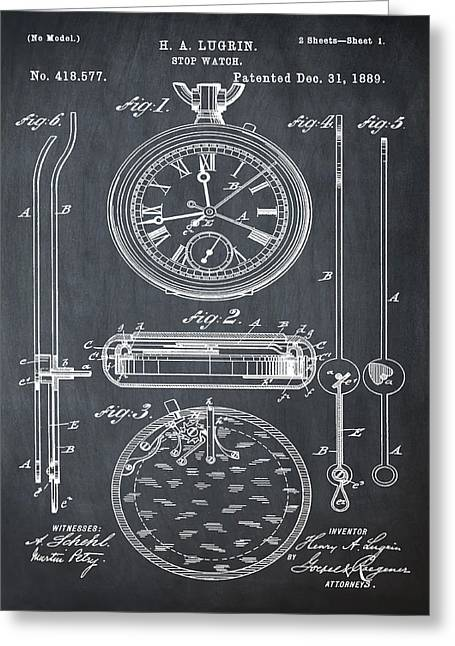 H A Lugrin Stop Watch Patent 1889 In Chalk Greeting Card