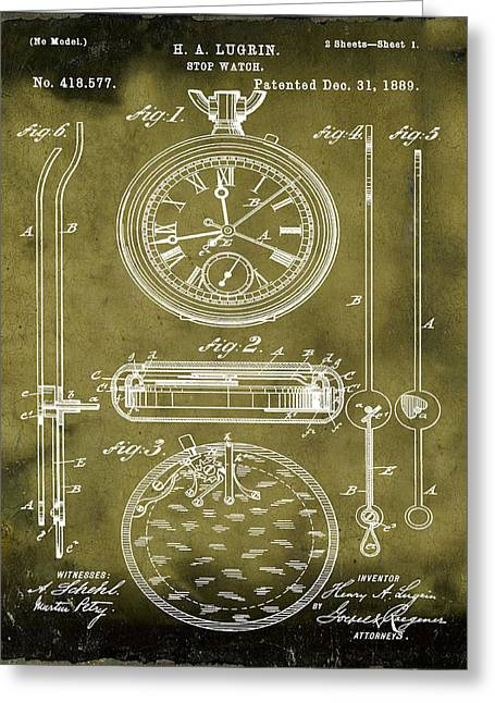 H A Lugrin Stop Watch Patent 1889 In Grunge Greeting Card by Bill Cannon