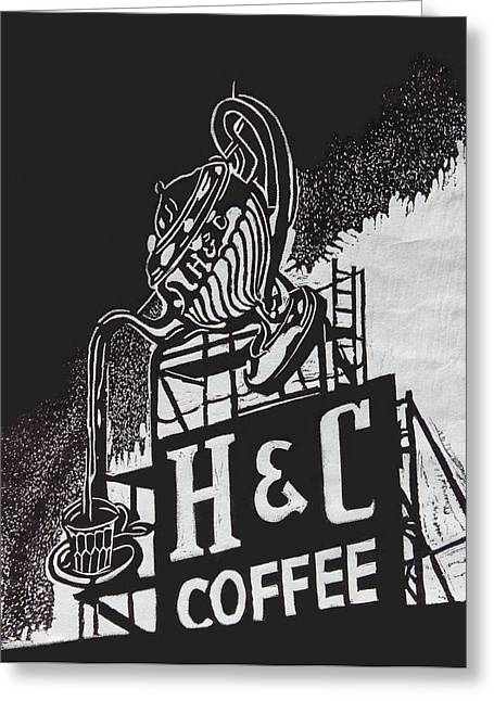H And C Coffee Sign Greeting Card by Suzanne Gaff