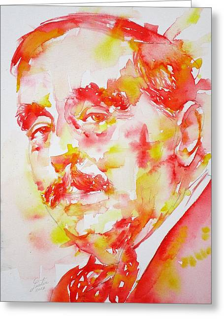 Greeting Card featuring the painting H. G. Wells - Watercolor Portrait by Fabrizio Cassetta